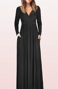 Elegant V-neck Jersey A Line Mother Formal Dress With Pockets