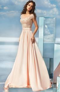 A-line Court Train Jewel Short Sleeve Satin Illusion Dress