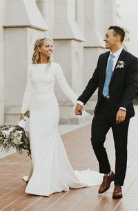 Modest Elegant Long Sleeve Satin Wedding Gown With Cathedral Train And Buttons