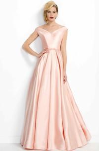V-neck Satin A-line Floor-length evening Dress