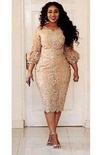 Bodycon Scalloped Lace Vintage Sexy Plus Size Knee-length 3-4 Length Sleeve Puff Balloon Dress