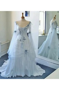 A-line Long Sleeve Floor-length Court Train Scoop Chiffon Tulle Prom Dress with Lace-up Back
