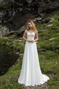 Elegant Illusion Lace Chiffon Bridal Gown