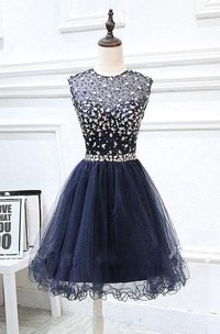 Jewel-Neck short Tulle A-line Ruffled Dress With Beading And Keyhole