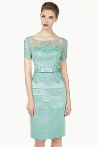 Bateau Short Sleeve tiered Dress With Beading And Illusion