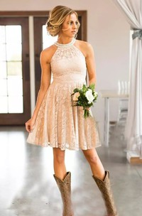 Simple High Neck Sleeveless Lace A-Line Dress