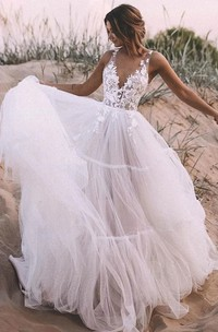 Ethereal Sleeveless Lace Tulle V-neck Floor-length Ball Gown Wedding Dress with Appliques
