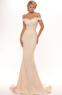 Mermaid Off-the-shoulder Floor-length Dress With Ruffled hemline