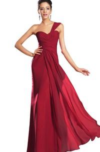 single-strap Chiffon Ruched Long Dress With Zipper