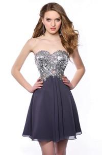 Chiffon Short A-Line Sweetheart Bling Corset Homecoming Dress With Pleats