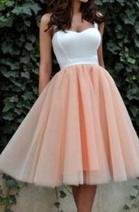 Sleeveless A-line Ball Gown Tea-length Straps Pleats Satin Organza Homecoming Dress