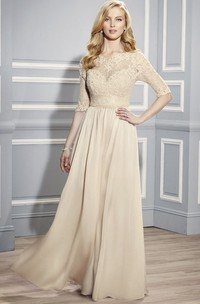 Bateau Half Sleeve Lace Jersey Mother of the Bride Dress With Illusion