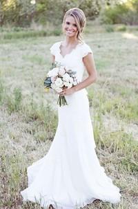 Chiffon Lace Bodice Satin Ribbon V-Neckline Cap-Sleeve Dress