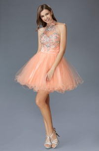 A-Line Straps Ruffled Jeweled Short Mini Sleeveless High-Neck Tulle Dress