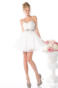 A-Line Waist Jeweler Appliqued Sweetheart Tulle Backless Satin Dress