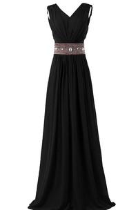 Long Rhinestone V-Neckline Sleeveless Chiffon Gown