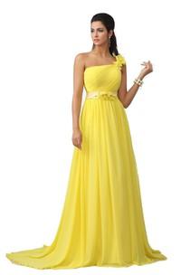 Chiffon Floral Detail A-Line Single-Shoulder Gown