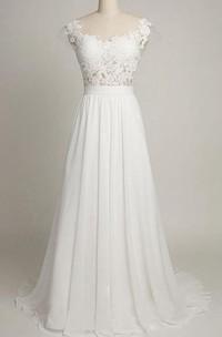 Cap Chiffon 3-4-Length A-Line Lace Backless Dress