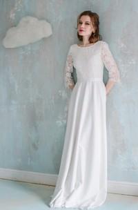 Lace Low-V Back Short-Sleeve Column Vintage-Inspire Gown