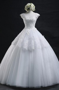 Jewel Lace Tulle Cap Short Sleeve Wedding Dress