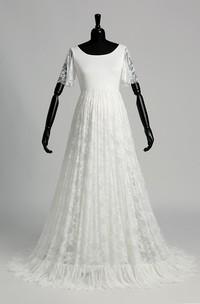 A-line Satin Lace Scoop Floor-length Sweep/Brush Train Short Sleeve Pleats Maternity Wedding Dress