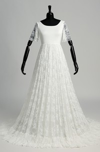 A-line Satin Lace Scoop Floor-length Sweep/Brush Train Short Sleeve Pleats Wedding Dress