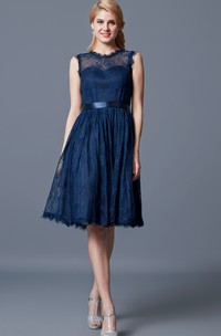 Lace Keyhole Back High-Neckline A-Line Bridesmaid Dress