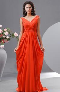 Floor-Length Draped V Back High-Waist Chiffon V-Neckline Dress