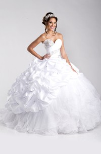 Tulle-And-Taffeta Lace-Up Back Pick-Ups Ball Gown