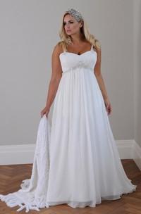 Spaghetti Chiffon  Sleeveless Wedding Gown