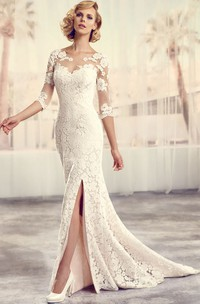 elegant 3-4-sleeve Lace Wedding Dress With Appliques And Illusion back