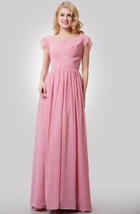 Long V-Neckline Cap Lace Sleeves A-Line Chiffon Dress