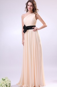 Maxi Asymmetrical One-Shoulder Dress With Flower And Draping
