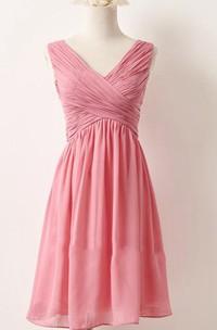 short Chiffon V-neck Sleeveless Bridesmaid Dress With Zipper