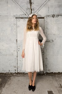 Tulle Lace Bodice Long-Sleeve Vintage Dress