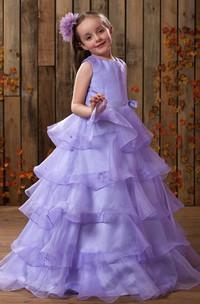 A-Line Layers High-Neckline Charming Flower Girl Dress