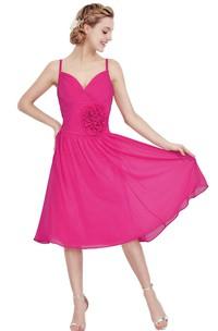 Chiffon Floral 3-4-Length Sleeveless Dress