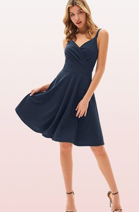 Modern V-neck Jersey A Line Sleeveless Prom Cocktail Dress With Ruffles