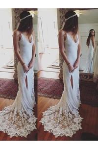 Spaghetti V-neck Lace  Sleeveless Wedding Dress