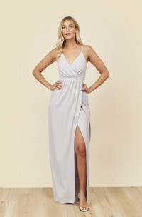 Spaghetti Straps V-neck Bridesmaid Dress With Front Split And Ruched Details