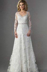 V-neck Illusion Long Sleeve A-line Wedding Dress With overall Appliques