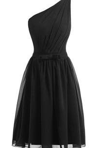 One-shoulder Sleeveless Chiffon short Dress With Pleats