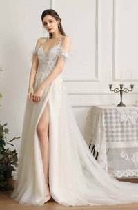 Sexy Front Split Lace Appliqued Wedding Dress With Straps And Off-the-shoulder Sleeves With Boning