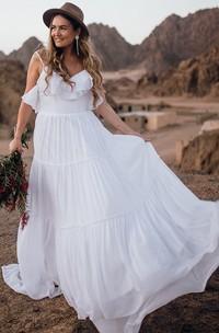 Casual Boho Sleeveless A Line Chiffon Spaghetti Wedding Dress with Ruffles