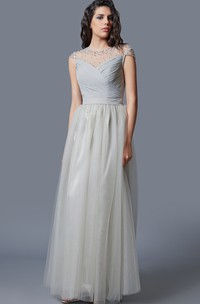 Ruched Beaded Tulle Jewel-Neckline Cap-Sleeve Long Dress