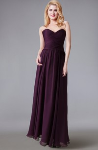 Sweetheart Chiffon Long Dress With Ruched Bodice