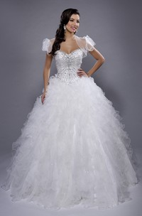 Organza Cascading Ruffled Illusion Cape Sweetheart Strapless Ball Gown