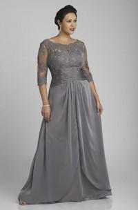 A-Line Low-V Back Long Yoke Lace Chiffon Dress