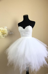 Sweetheart Tulle Ruffled A-line short Dress With Lace top