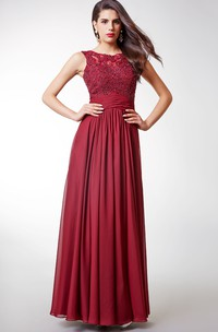 Scoop-neck Chiffon long Pleated Dress With Beaded top